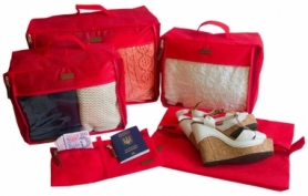 Набор дорожных сумок CDRep (FO-122105) - красный, 5шт