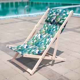 Шезлонг складной для пляжа и бассейна CDRep Зеленые Кактусы (FO-123975)