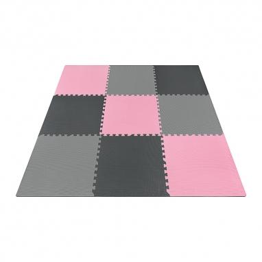 Мат-пазл (ласточкин хвост) 4Fizjo Mat Puzzle EVA 4FJ0157 Black/Grey/Pink, 180x180x1 cм