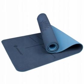 Коврик для йоги и фитнеса Springos TPE YG0012 Blue/Sky Blue, 183х61х0.6 см