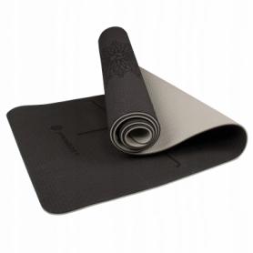 Коврик для йоги и фитнеса Springos TPE YG0013 Black/Grey, 183х61х0.6 см