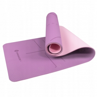 Коврик для йоги и фитнеса Springos TPE YG0015 Purple/Pink, 183х61х0.6 см