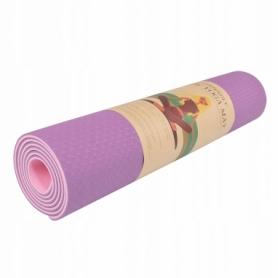 Коврик для йоги и фитнеса Springos TPE YG0015 Purple/Pink, 183х61х0.6 см - Фото №9