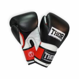 Перчатки боксерские Thor Pro King (8041/02(Leather) B/R/Wh) - черно-красно-белые