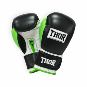 Перчатки боксерские Thor Typhoon (8027/01(PU) B/GR/W) - черно-зелено-белые
