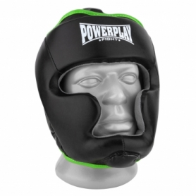 Шлем боксерский тренировочный PowerPlay 3068 PU + Amara (PP_3068_Black/Green) - черно-зеленый