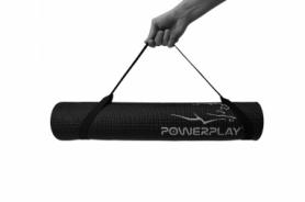 Коврик для йоги и фитнеса PowerPlay (4010) - черный, 173х61х0.6 см