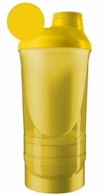 Шейкер спортивный с 2-мя контейнерами ShakerStore Wave - желтый, 600 мл