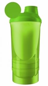 Шейкер спортивный с 2-мя контейнерами ShakerStore Wave - зеленый, 600 мл