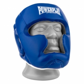 Шлем боксерский тренировочный PowerPlay 3068 PU + Amara (PP_3068_Blue/White) - сине-белый