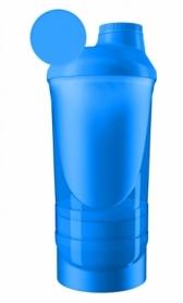 Шейкер спортивный с 2-мя контейнерами ShakerStore Wave - голубой, 600 мл
