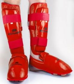 Защита для ног (голень + стопа) для карате BoyBo, красный Fleх