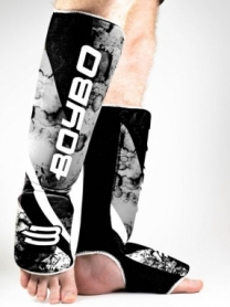 Защита для ног (голень + стопа) BoyBo Black Flame черная, нейлон ZD-65