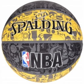 Мяч баскетбольный Spalding NBA Graffiti Outdoor Grey/Yellow (3001551011517), №7