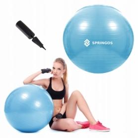Мяч для фитнеса (фитбол) 55 см Springos Anti-Burst Sky Blue (FB0006) - Фото №4