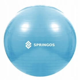 Мяч для фитнеса (фитбол) 55 см Springos Anti-Burst Sky Blue (FB0006) - Фото №5