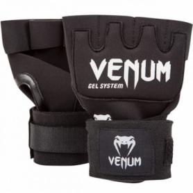 Бинт-перчатки гелевые Venum Kontact Gel Glowe Wraps, черные с белым