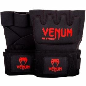 Бинт-перчатки гелевые Venum Kontact Gel Glowe Wraps, черные с красным