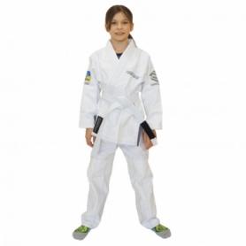 Кимоно детское для бразильского джиу-джитсу Firepower Ukraine белое (FP-7932-1)