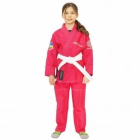 Кимоно детское для бразильского джиу-джитсу Firepower Ukraine розовое (FP-7944-1)