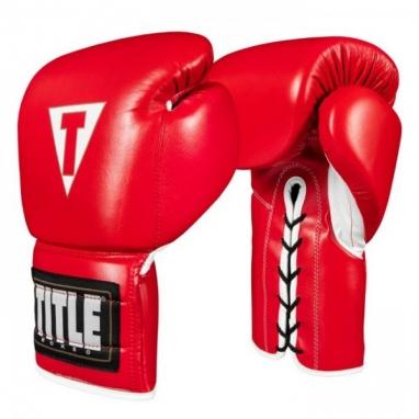 Перчатки боксерские TITLE Boxing Boxeo Mexican Leather Lace Training Gloves Tres (FP-8423-V) - красные