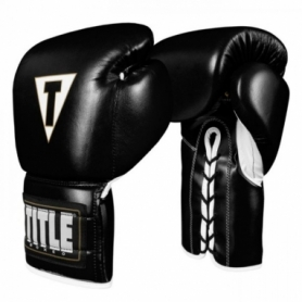 Перчатки боксерские TITLE Boxing Boxeo Mexican Leather Lace Training Gloves Tres (FP-8426-V) - черные