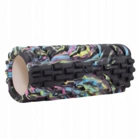 Ролик массажный Springos Mix Color 33 x 14 см, черный (FR0018)