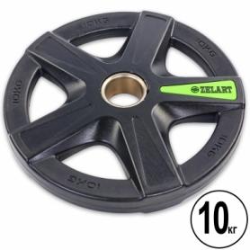 Диск олимпийский полиуретановый Zelart (TA-5335-10), 10кг