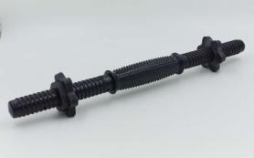 Гриф гантельный пластиковый обрезиненный с замками P-sport (TA-80243-35), 35см
