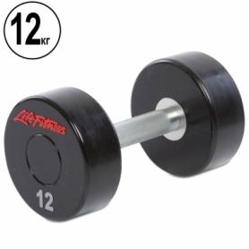 Гантель профессиональная полиуретановая Life Fitness (SC-80081-12), 12кг