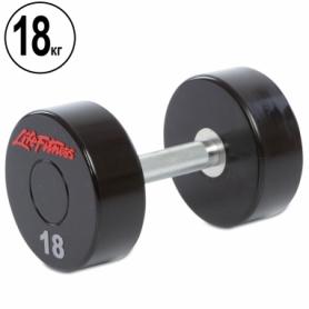 Гантель профессиональная полиуретановая Life Fitness (SC-80081-18), 18кг