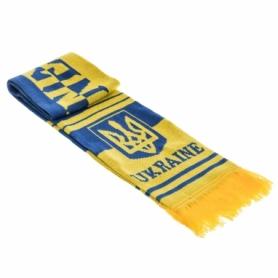 Шарф зимний для болельщиков двусторонний Soccer Ukraine FB-6031, сине-желтый