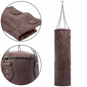 Чехол боксерского мешка цилиндрический с цепью Vintage (F-0246) - темно-коричневый, h-100см