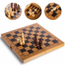 Набор настольных игр 3 в 1 (шахматы, шашки, нарды бамбуковые) B-3116, 29х29 см