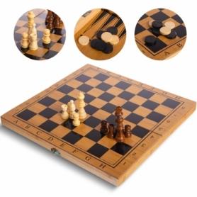 Набор настольных игр 3 в 1 (шахматы, шашки, нарды бамбуковые) B-3135, 34х34 см
