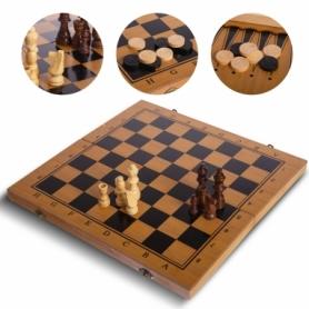 Набор настольных игр 3 в 1 (шахматы, шашки, нарды бамбуковые) B-3140, 39х39 см