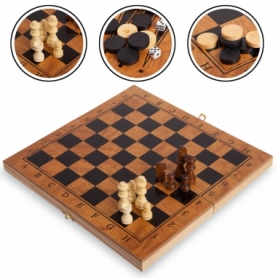 Набор настольных игр 3 в 1 (шахматы, шашки, нарды деревянные) S4034, 39х39 см