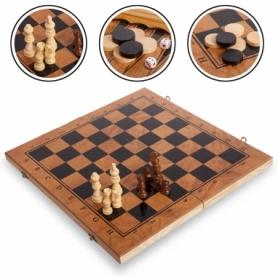 Набор настольных игр 3 в 1 (шахматы, шашки, нарды деревянные) S3029, 29х29 см