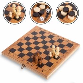 Набор настольных игр 3 в 1 (шахматы, шашки, нарды деревянные) S2414, 11х11 см