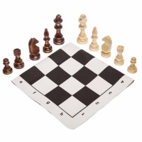 Шахматные фигуры деревянные с полотном для игр 405P, 10,5 см