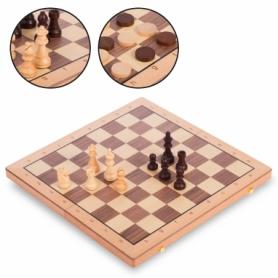 Набор настольных игр 2 в 1 (шахматы, шашки) деревянный W9052, 52x52 см