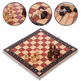 Набор настольных игр 3 в 1 (шахматы, шашки, нарды деревянные с магнитом) ZC024A, 24х24 см