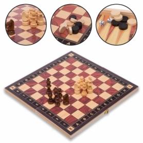 Набор настольных игр 3 в 1 (шахматы, шашки, нарды деревянные с магнитом) ZC029A, 29х29 см