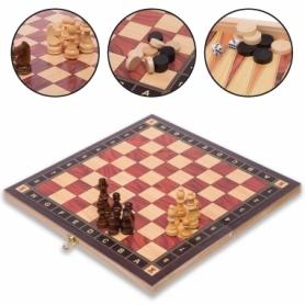 Набор настольных игр 3 в 1 (шахматы, шашки, нарды деревянные с магнитом) ZC034A, 34х34 см
