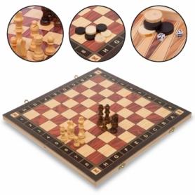 Набор настольных игр 3 в 1 (шахматы, шашки, нарды деревянные с магнитом) ZC039A, 39х39 см