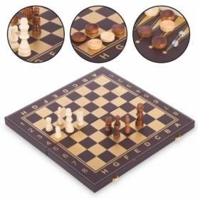 Набор настольных игр 3 в 1 (шахматы, шашки, нарды кожзам) L3508, 34х34 см
