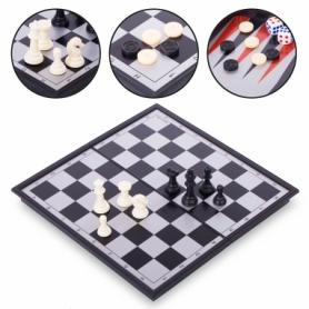 Набор настольных игр 3 в 1 (шахматы, шашки, нарды дорожные пластиковые магнитные) 9518, 24х24 см