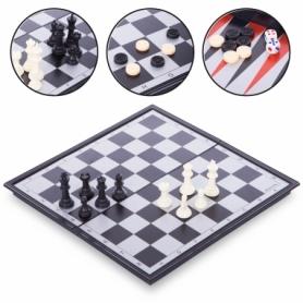 Набор настольных игр 3 в 1 (шахматы, шашки, нарды дорожные пластиковые магнитные) 9918, 36х36 см