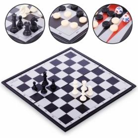 Набор настольных игр 3 в 1 (шахматы, шашки, нарды дорожные пластиковые магнитные) 9018, 40х40 см