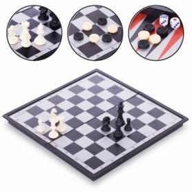 Набор настольных игр 3 в 1 (шахматы, шашки, нарды дорожные пластиковые магнитные) 9618, 27х27 см